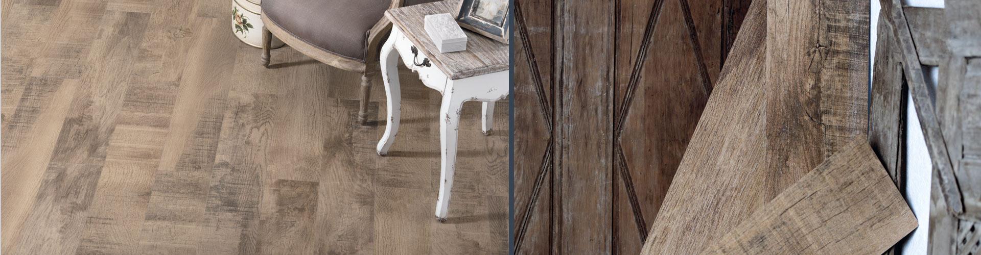 Керамограгнит с имитацией брашированной, состаренной древесины