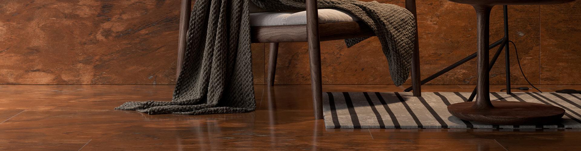 Керамогранит в интерьере с насыщенным коричневым оттенком