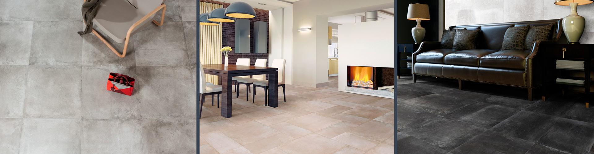 Напольный керамогранит с эстетикой из бетона