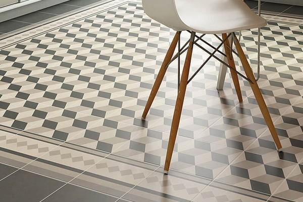 Интерьер с напольной плиткой и декором Provence, Equipe