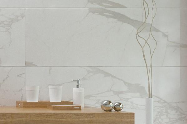 Стена ванной комнаты. Фото коллекции плитки Infinity, Serra